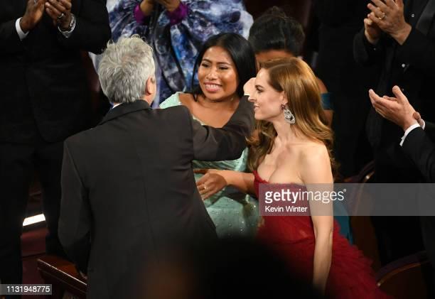 Alfonso Cuaron Yalitza Aparicio and Marina de Tavira attend the 91st Annual Academy Awards at Dolby Theatre on February 24 2019 in Hollywood...