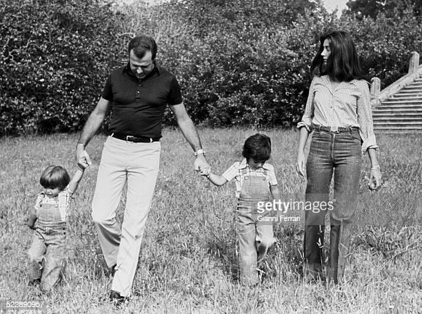 Alfonso de Borbon and his wife Carmen Martinez Bordiu with their two sons Francisco de Asis and Luis Alfonso at the 'Palacio de Meiras' a Coruna...