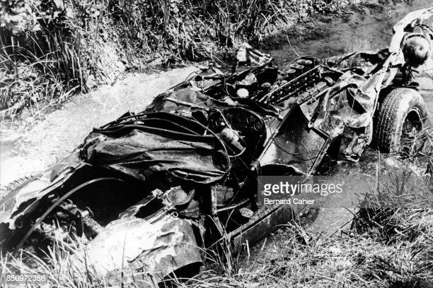Alfonso de Portago Ferrari 335S Mille Miglia Italy 05 December 1957 The wreckage of Alfonso de Portago's Ferrari 335S after the terrible accident...