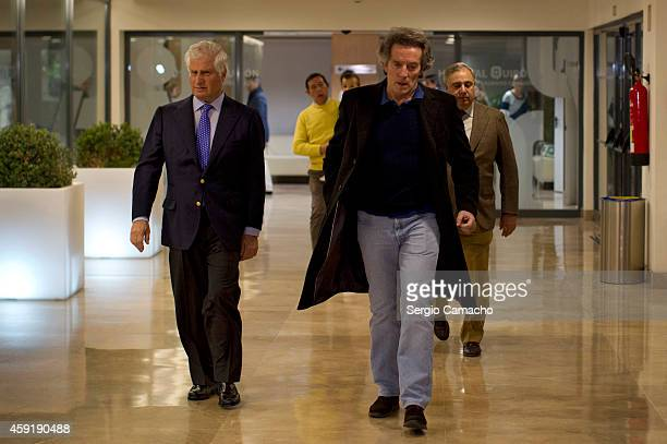 Alfonso Diez Carabantes leaves the Sagrado Corazon hospital after visiting his wife Spain's Duchess of Alba accompanied by her Carlos and Fernando...