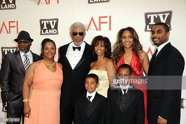 Alfonso Freeman Alexis Freeman 39th Life Achievement Award recipient Morgan Freeman Morgana Freeman Deena Freeman Aldric Johns Deion Hines and Teacel...