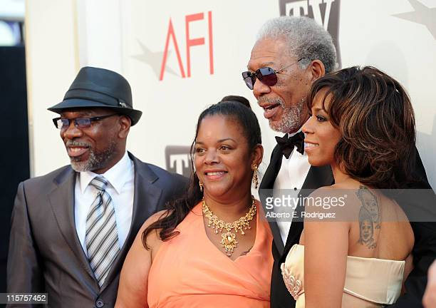 Alfonso Freeman, Deena Freeman, 39th Life Achievement Award recipient Morgan Freeman and Morgana Freeman arrive at the 39th AFI Life Achievement...