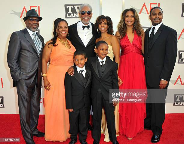 Alfonso Freeman, Deena Freeman, Deion Hines, 39th Life Achievement Award recipient Morgan Freeman, Morgana Freeman, Aldric Johns, Alexis Freeman and...