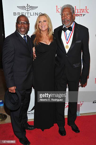 Alfonso Freeman producer Lori McCreary and actor Morgan Freeman arrive to the 9th Annual Living Legends of Aviation Awards at The Beverly Hilton...