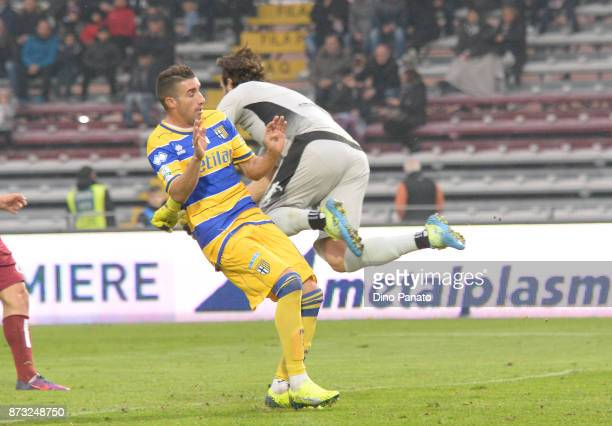 Alfonso goalkeeper of AS Cittadella competes with Barilla' of Parma Calcio during the Serie B match between AS Cittadella and Parma Calcio on...