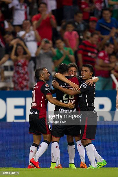 Alfonso Gonzalez of Atlas celebrates his goal during a match between Atlas and Chiapas as part of 3rd round Apertura 2014 Liga MX at Jalisco Stadium...