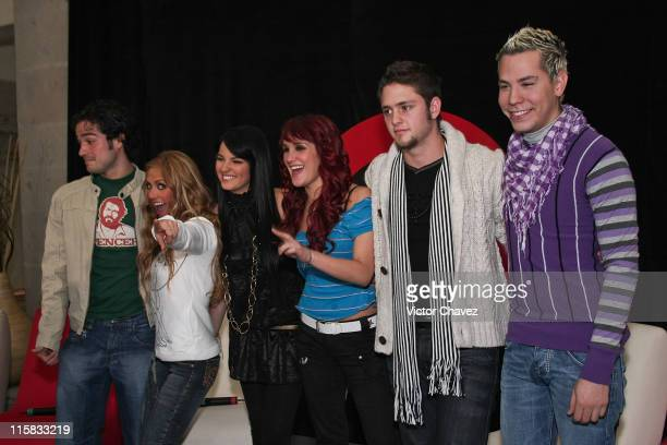 Alfonso Herrera Anahi Maite Perroni Dulce Maria Christopher Uckermann and Christian Chavez of RBD attends a press conference to announce their new...