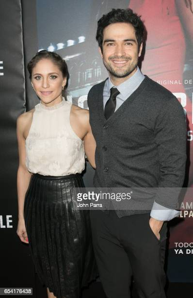 Alfonso Herrera and guest arrive at the Premiere Of Netflix's 'Ingobernable' at Colony Theater on March 15 2017 in Miami Beach Florida