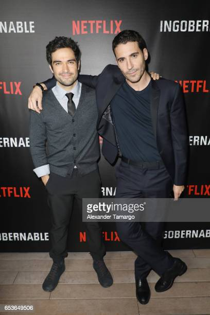 Alfonso Herrera and Miguel Angel Silvestre attend the Netflix Ingobernable S1 Premiere Miami Screening 2017 on March 15 2017 in Miami Beach Florida