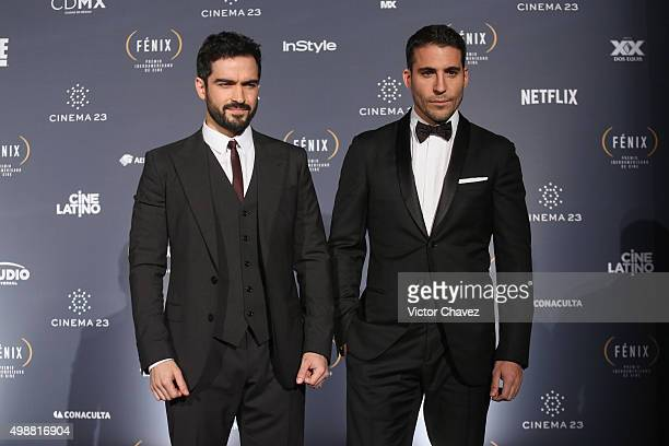 Alfonso Herrera and Miguel Angel Silvestre attend the Premio Iberoamericano de Cine Fenix 2015 at Teatro de La Ciudad on November 25 2015 in Mexico...