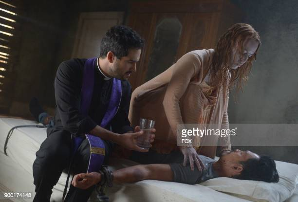 Alfonso Herrera guest star Alicia Witt and John Cho in the 'Heaven of Hell' episode of THE EXORCIST airing Friday Dec 1 on FOX