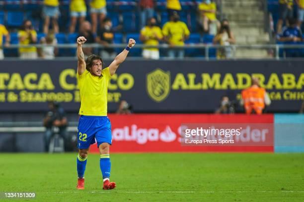 "Alfonso ""Pacha"" Espino of Cadiz celebrates a goal during the spanish league, La Liga Santander, football match played between Cadiz CF and Levante UD..."