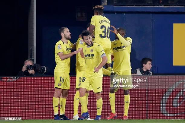 Alfonso Pedraza of Villarreal Manuel Morlanes of Villarreal Samu of Villarreal Karl Toko Ekambi of Villarreal celebrate goal during the La Liga...