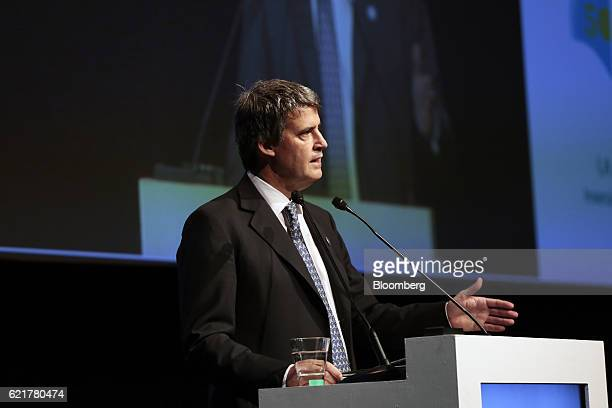 Alfonso PratGay Argentina's finance minister speaks during the 50th Anniversary Federation of Latin American Banks Annual Assembly in Buenos Aires...
