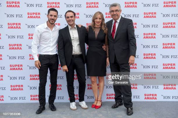 Alfonso Reiriz, Spanish fashion designer Ion Fiz, Gotzone de Miguel, and Victor Espinosa attend the photocall to present the collection of uniforms...