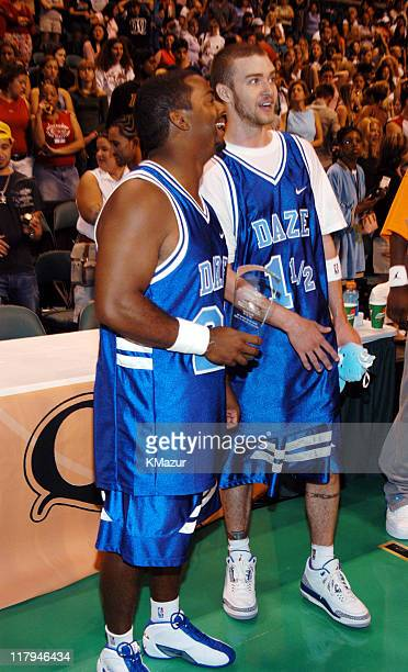 Alfonso Ribeiro and Justin Timberlake during *NSYNC's Challenge for the Children V Post Game at Office Depot Center in Fort Lauderdale Florida United...