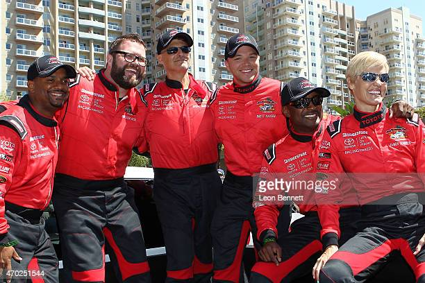 Alfonso Ribeiro Rutledge Wood Steve Mason Brett Davern Antron Brown and Dara Torres attends the Toyota Grand Prix Of Long Beach Pro/Celebrity Race...