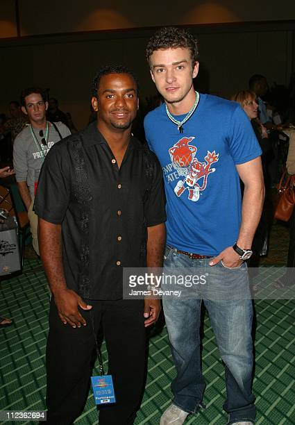 Alfonso Ribeiro with Justin Timberlake of *NSYNC during *NSYNC Challenge for the Children IV TipOff Party at Royal Pacific Hotel in Orlando Florida...