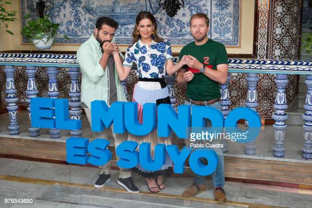 Alfonso Sanchez Mar Saura and Alberto Lopez attend the 'El Mundo Es Suyo' photocall at La Giralda Restaurant on June 20 2018 in Madrid Spain