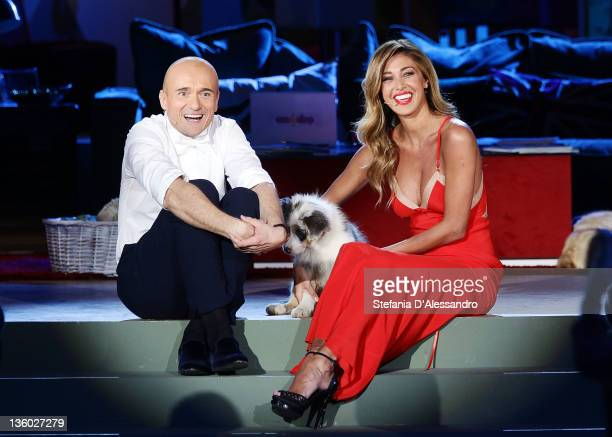 Alfonso Signorini and Belen Rodriguez attend 'Kalispera' Italian TV Show on December 16 2011 in Milan Italy