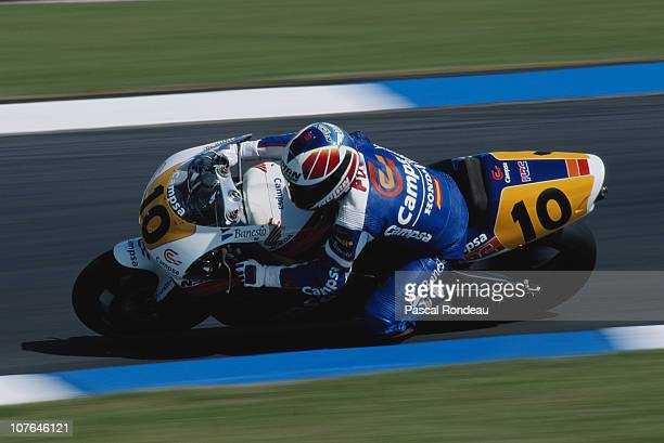 Alfonso Sito Pons Ezquerra rides the CampsaHonda 500cc motorcycle during the FIM British Grand Prix on 4th August 1991 at the Donington Park Circuit...