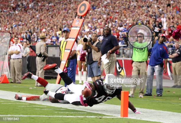 Alfonso Smith of the Arizona Cardinals is ruled down at the two yard line against the New York Giants at University of Phoenix Stadium on October 2...
