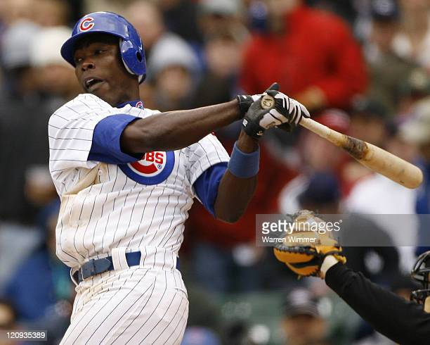 Alfonso Soriano batting during game action at the season home opener of the Chicago Cubs at Wrigley Field Chicago Il on April 9 2007 The Houston...