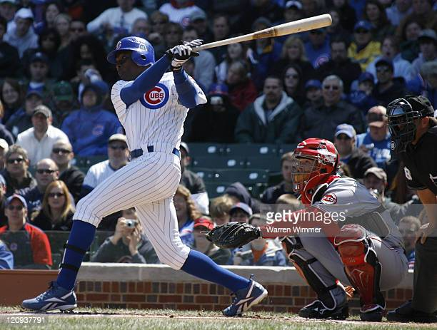 Alfonso Soriano center fielder of the Chicago Cubs batting during the second inning at Wrigley Field Chicago Illinois on April 15 2007 where a...