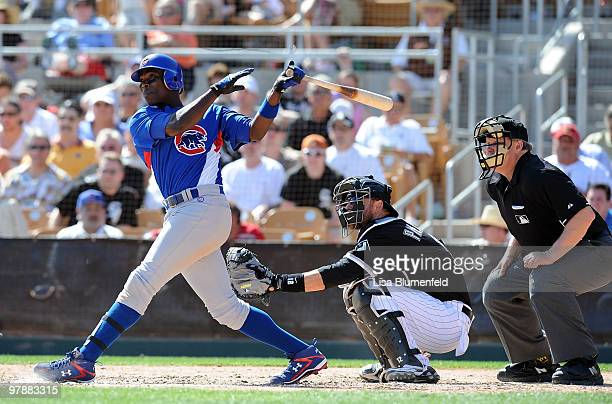 Alfonso Soriano of the Chicago Cubs bats during a spring training game against the Chicago White Sox on March 19 2010 at The Ballpark at Camelback...