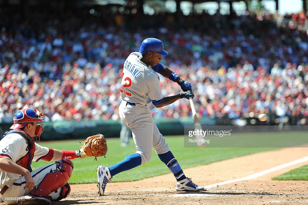 Alfonso Soriano of the Chicago Cubs bats during the game against the Philadelphia Phillies at Citizens Bank Park in Philadelphia, Pennsylvania on May 20, 2010. The Phillies defeated the Cubs 5-4.