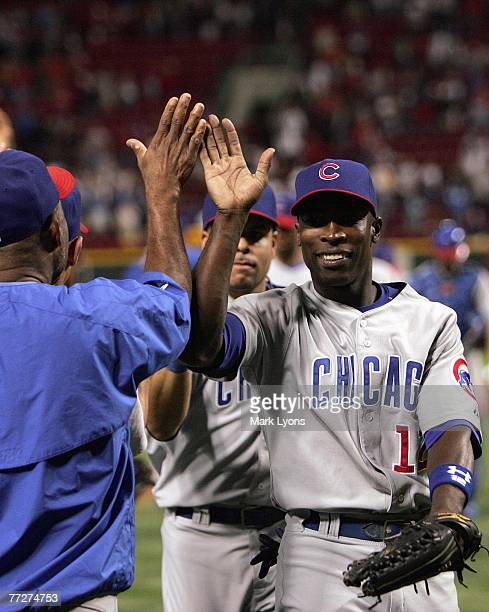 Alfonso Soriano of the Chicago Cubs celebrates after the game against the Cincinnati Reds on September 28, 2007 at Great American Ballpark in...