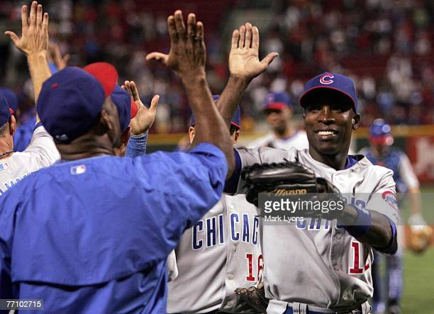 Alfonso Soriano of the Chicago Cubs celebrates the team's win 6-0 against the Cincinnati Reds at Great American Ballpark September 28, 2007 in...