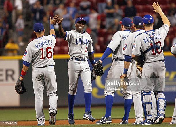 Alfonso Soriano of the Chicago Cubs celebrates with Aramis Ramirez after the game against the Cincinnati Reds on September 28, 2007 at Great American...