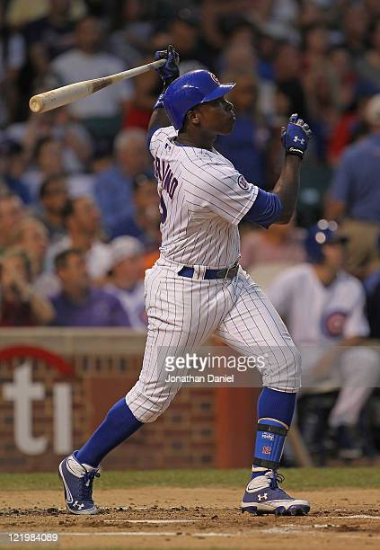 Alfonso Soriano of the Chicago Cubs hits his 22nd home run of the season a tworun shot in the 2nd inning against the Atlanta Braves at Wrigley Field...