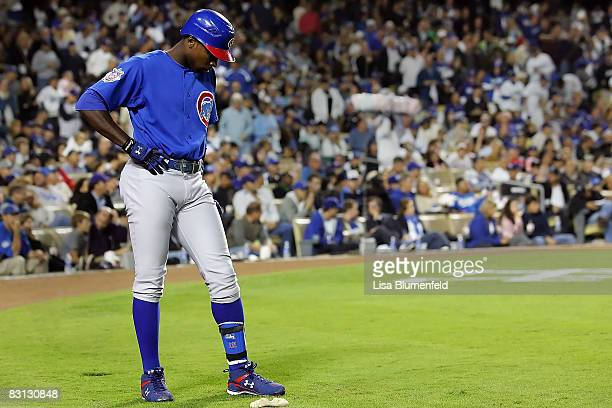 Alfonso Soriano of the Chicago Cubs looks down while on deck against the Los Angeles Dodgers in Game Three of the NLDS during the 2008 MLB playoffs...