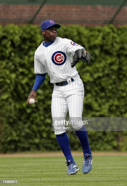 Alfonso Soriano of the Chicago Cubs looks to throw against the Chicago White Sox during interleague play on May 20 2007 at Wrigley Field in Chicago...