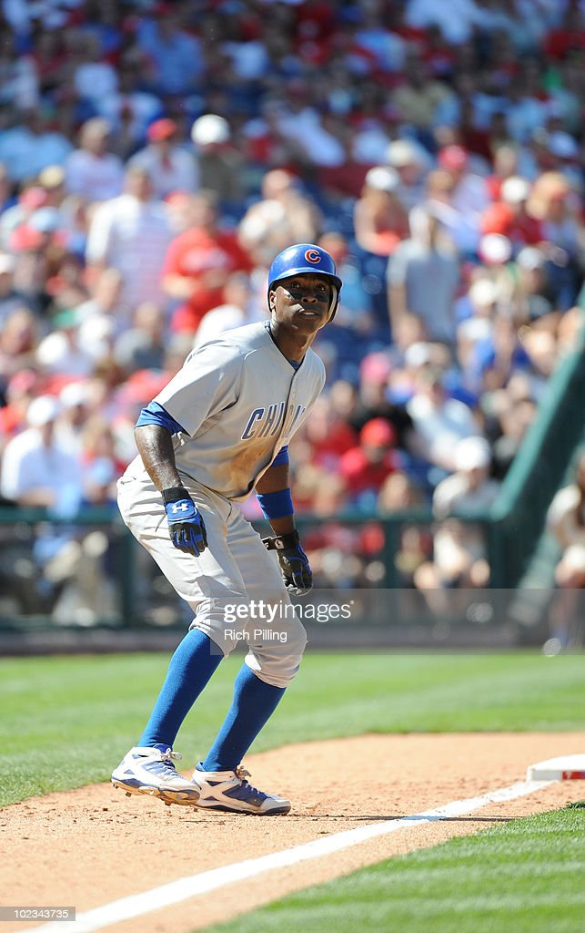 Alfonso Soriano of the Chicago Cubs runs during the game against the Philadelphia Phillies at Citizens Bank Park in Philadelphia, Pennsylvania on May 20, 2010. The Phillies defeated the Cubs 5-4.