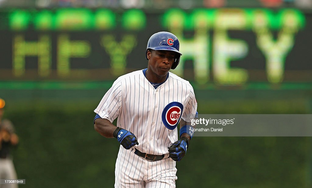 Alfonso Soriano #12 of the Chicago Cubs runs the bases after hitting a two-run home run in the 4th inning against the Pittsburgh Pirates at Wrigley Field on July 6, 2013 in Chicago, Illinois.