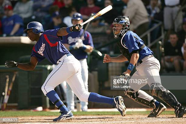 Alfonso Soriano of the Texas Rangers at bat against the Kansas City Royals during their spring training game on March 5 2005 at Surprise Stadium in...