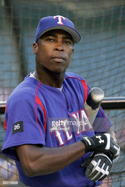 Alfonso Soriano of the Texas Rangers looks on during batting practice before the game against the Los Angeles Angels of Anaheim at Angel Stadium on...
