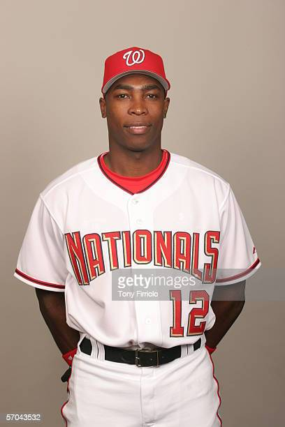 Alfonso Soriano of the Washington Nationals during photo day at Space Coast Stadium on February 27 2006 in Viera Florida