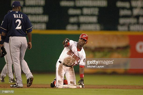 Alfonso Soriano of the Washington Nationals steals his 40th base to become only the fourth player in baseball to hit 40 home runs and steal 40 bases...