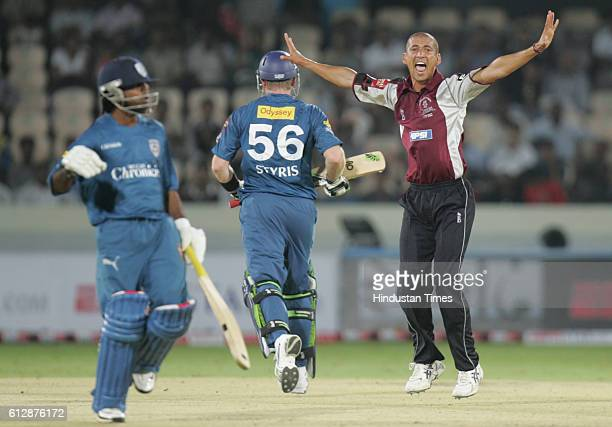 Alfonso Thomas of Somerset celebrates bowling Scott Styris of the Deccan Chargers for LBW during the Airtel Champions League Twenty20 Group A match...