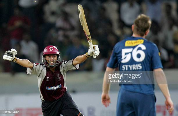Alfonso Thomas of Somerset celebrates hitting the winning runs during the Airtel Champions League Twenty20 Group A match between the Deccan Chargers...
