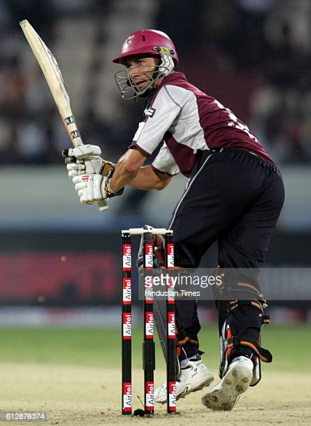 Alfonso Thomas of Somerset playsa shot during the Airtel Champions League Twenty20 Group A match between the Deccan Chargers and Somerset CCC at the...