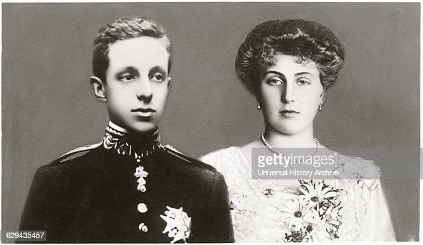 Alfonso XIII King of Spain and Fiancé Princess Victoria Eugenie of Battenberg Postcard circa 1906