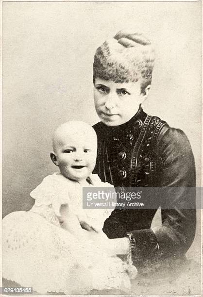Alfonso XIII King of Spain and Mother Maria Christina of Austria Queen Regent Portrait Albumen Cabinet Card circa 1886
