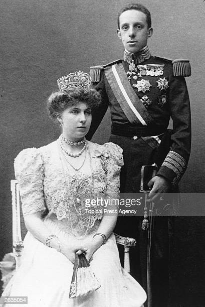 Alfonso XIII King of Spain and Victoria Eugenie Queen of Spain whom he married in 1906 She is a granddaughter of Queen Victoria