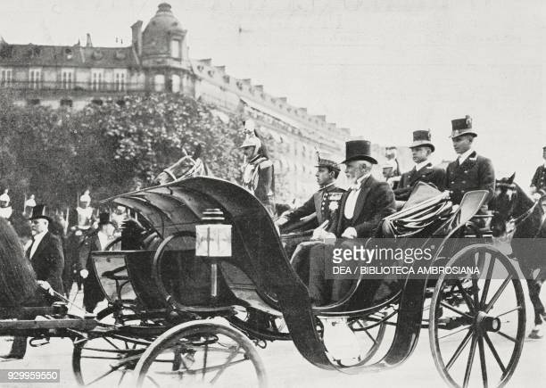 Alfonso XIII, King of Spain, arriving in Paris, France, photograph by Chusseau-Flaviens, from L'Illustrazione Italiana, Year XXXII, No 24, June 11,...