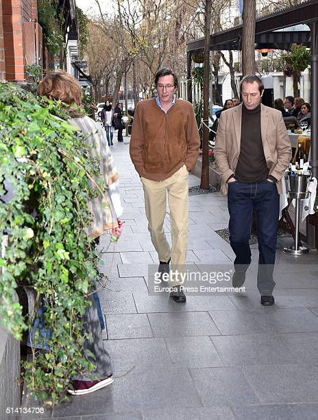 Alfonso Zurita and Fernando Gomez Acebo attend Princess Margarita's 77th birthday going for lunch in a restaurant on March 6 2016 in Madrid Spain